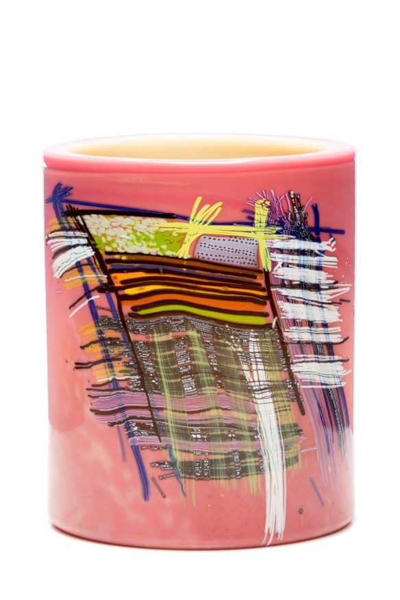 Peach Cylinder with Indian Blanket Drawing by Dale Chihuly