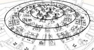 Das im Sommer 2016 neu eingeführte Messelayout der Kleinen Fabriek mit seinen konzentrischen Kreisen