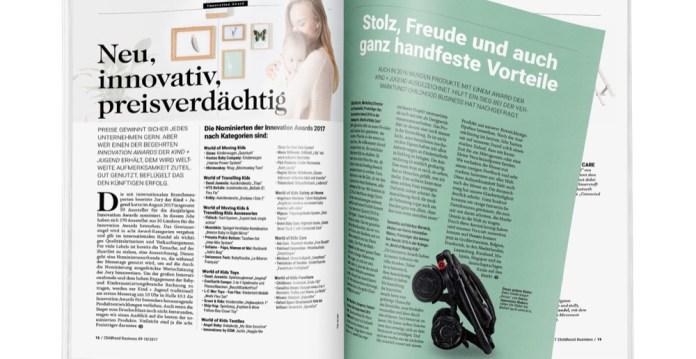 Doppelseite aus der Ausgabe 09-10/2017 zur Kind + Jugend, s. 16-17
