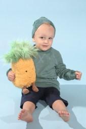 Luca mit Müsli by Green Cotton beim Childhood-Business-Shooting auf der Kids Now im Sommer 2018
