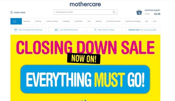 """""""Alles muss raus"""" prangert Mothercare auf ihrer Website noch – bald wird der Shop dann komplett geschlossen."""