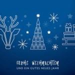 Weihnachtsgruss blauer Hintergrund – Sterne, Weihnachtsbaum, Rentier und Geschenke auf Schlitten – deutsch