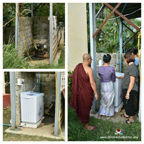 installazione lavatrice orfanotrofio sasana birmania - children do matter