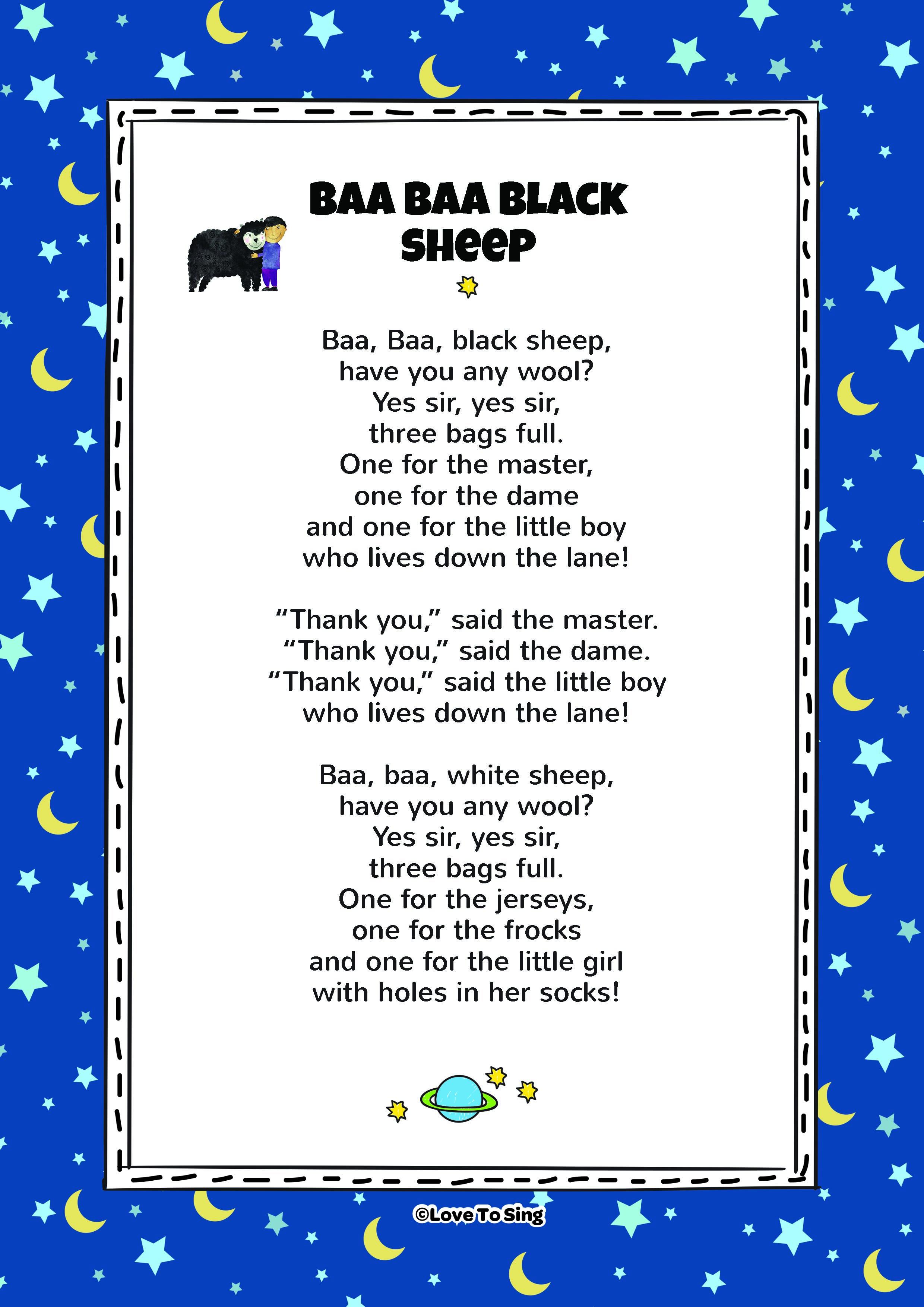 Baa Baa Black Sheep Nursery Rhyme Activities X X