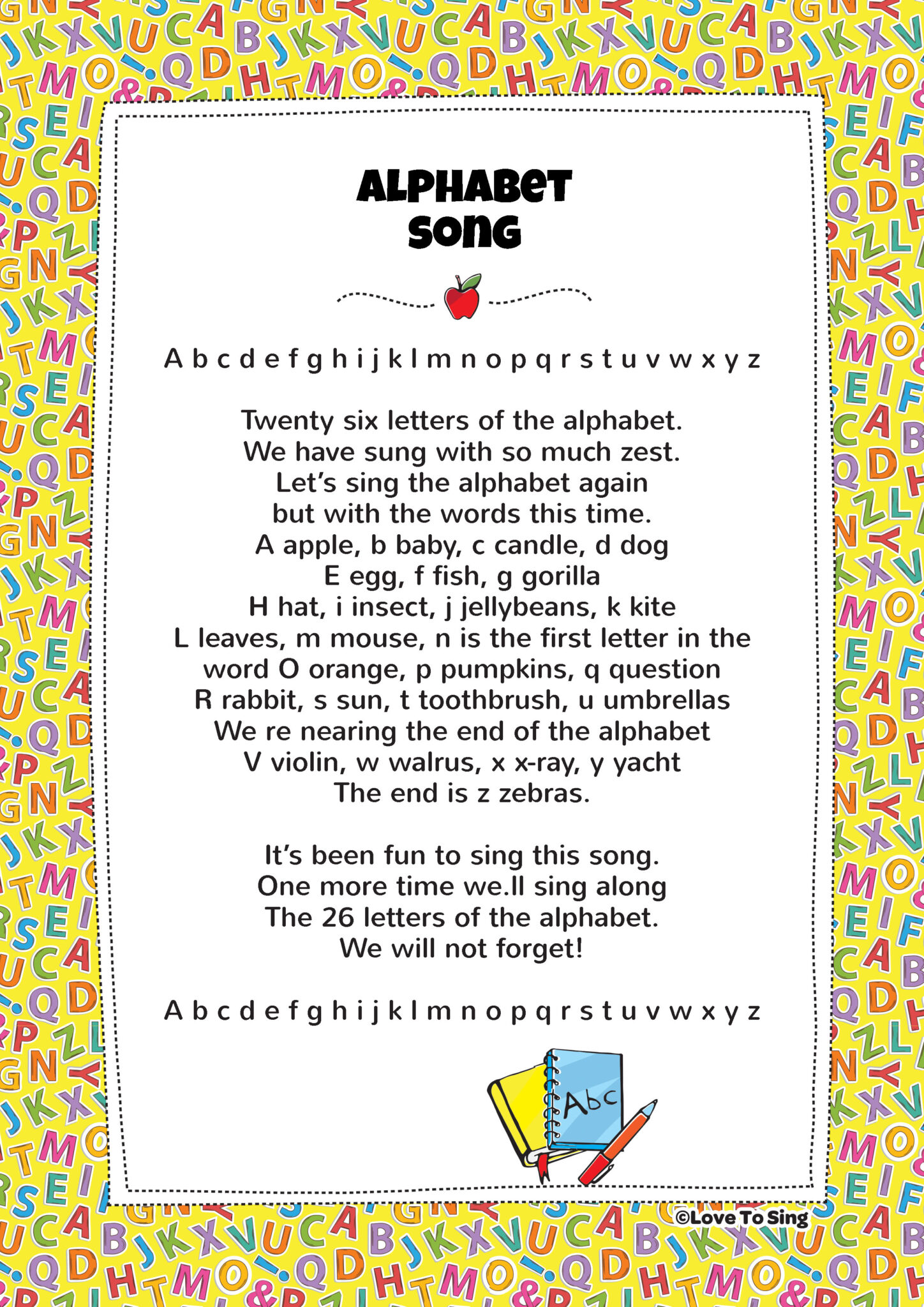 New Alphabet Song Words