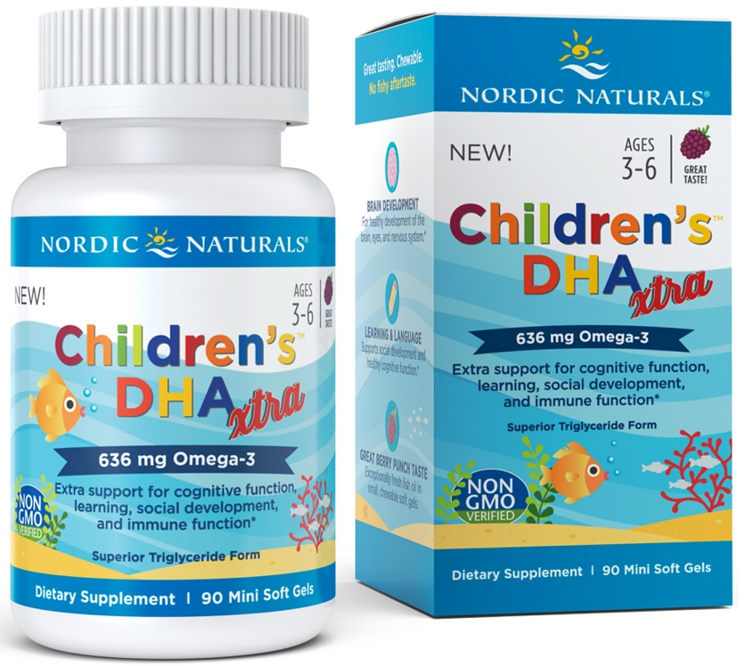 Nordic Naturals Children's DHA Xtra, 636mg Berry Punch – 90 softgels