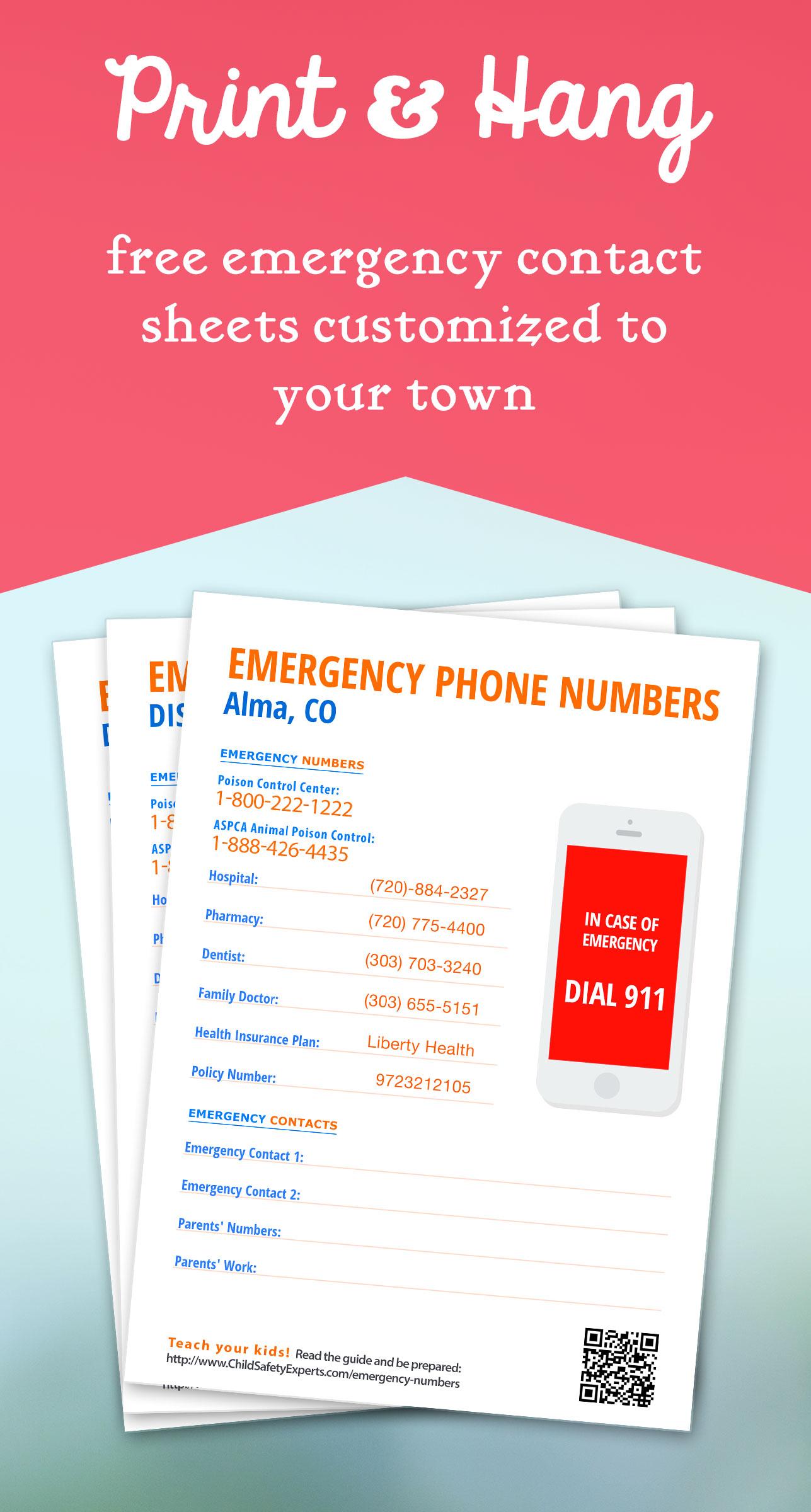 Important Emergency Phone Numbers