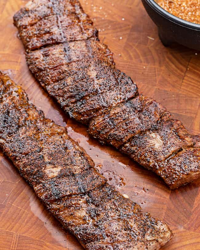 ancho coffee steak ready to be sliced on the cutting board