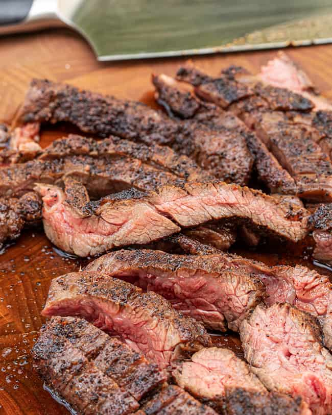 steak sliced up and ready to eat