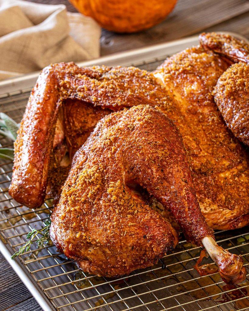 side shot crispy smoked turkey