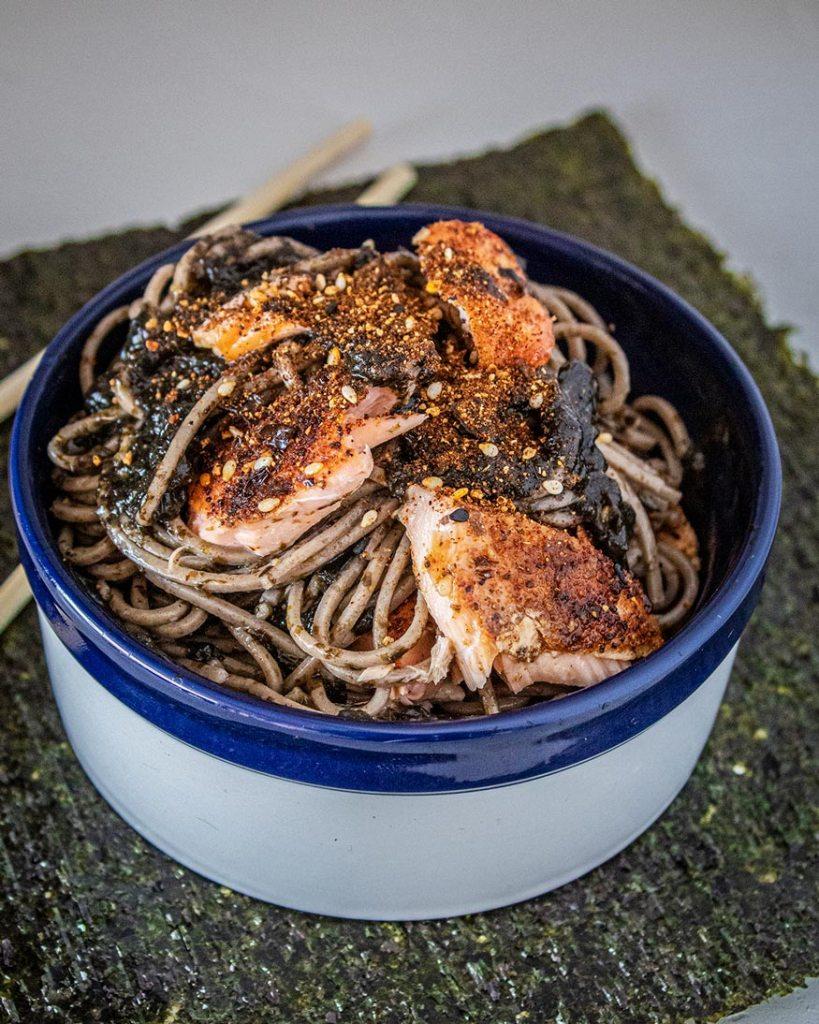 seaweed pesto and smoked salmon bowl