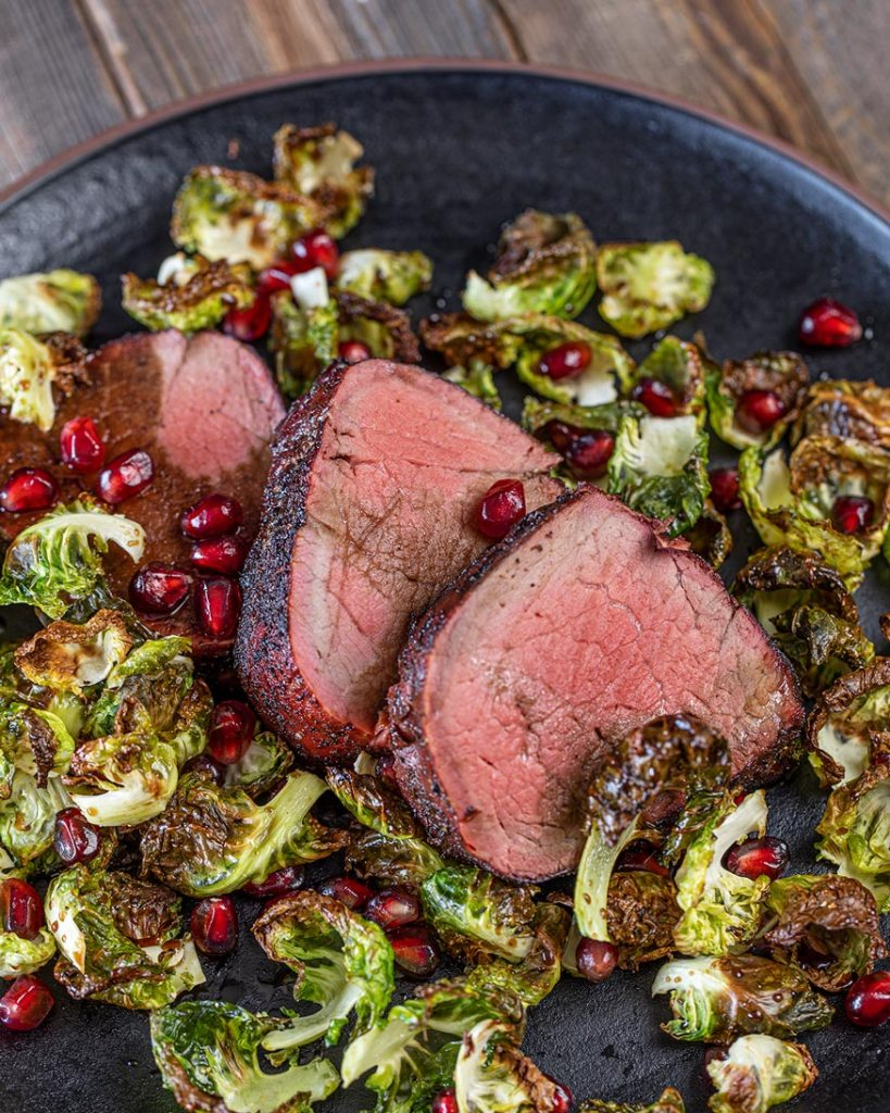 beef tenderloin, pomegranate molasses, brussels sprouts