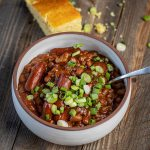 smoked franks and beans with cornbread