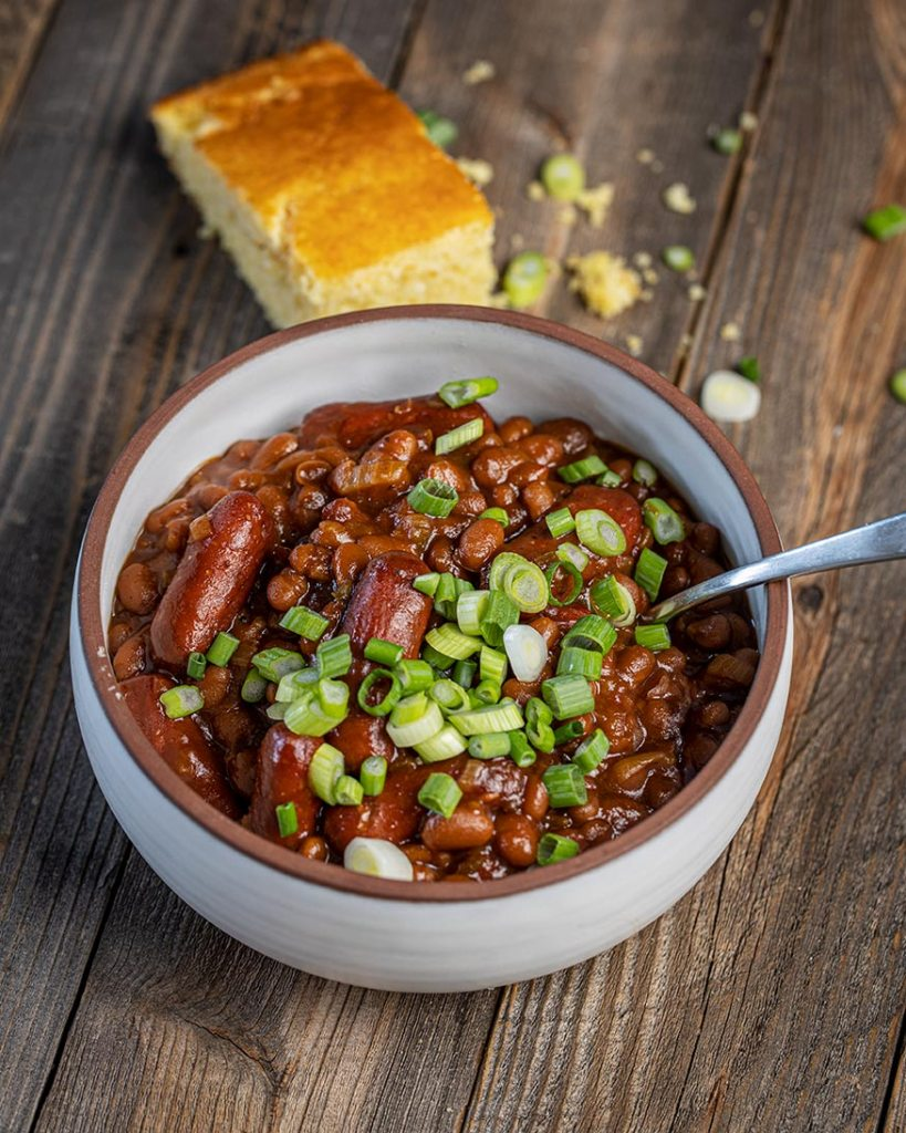 franks and beans with cornbread