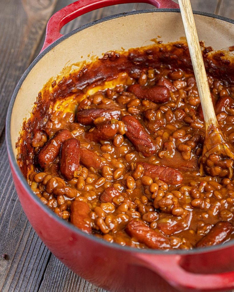 smoked franks and beans are ready