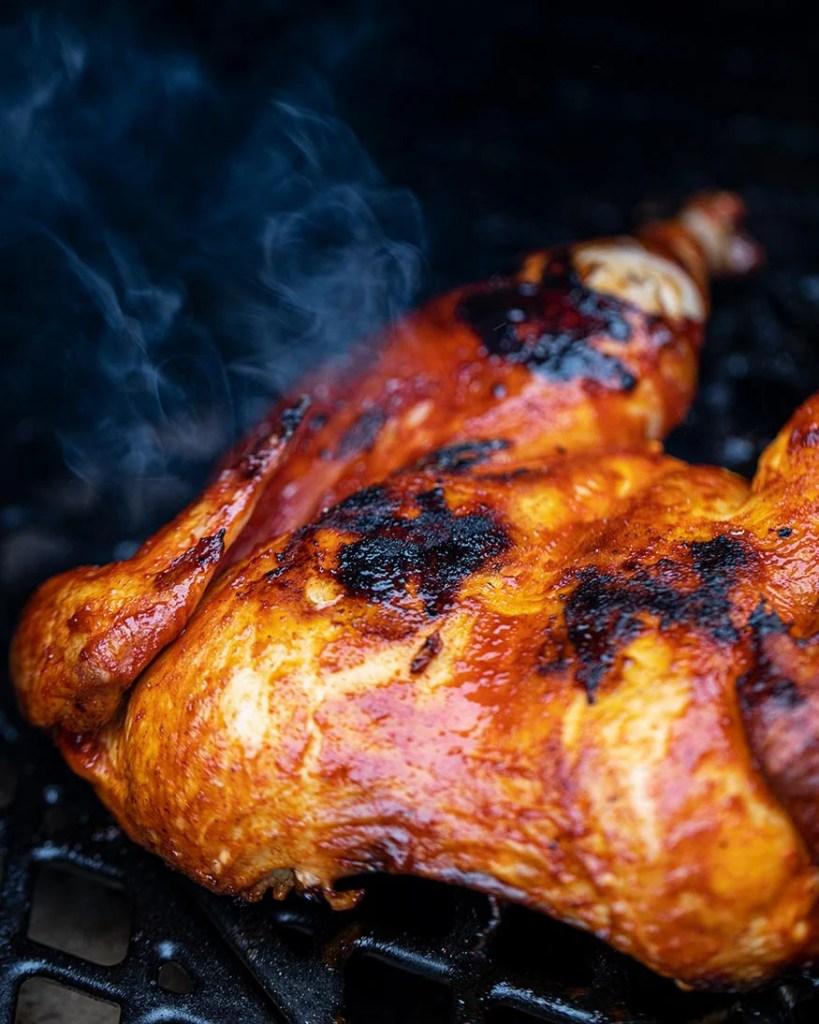 smoking, seared fiery chicken