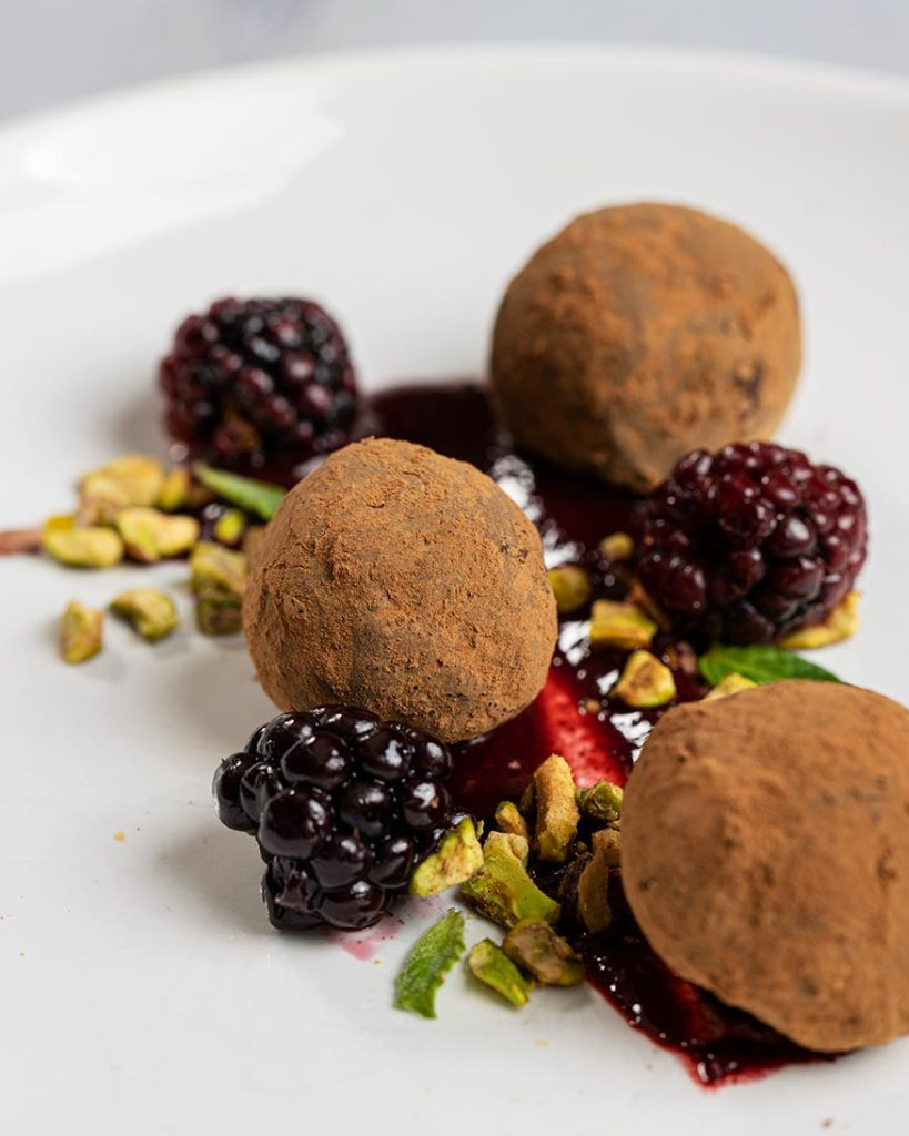 smoked chocolate truffles with bourbon, grilled berries, pistachios
