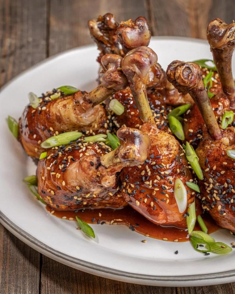 plate of orange chicken