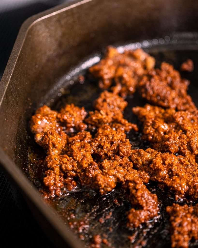 beef chorizo, crisping up in the pan