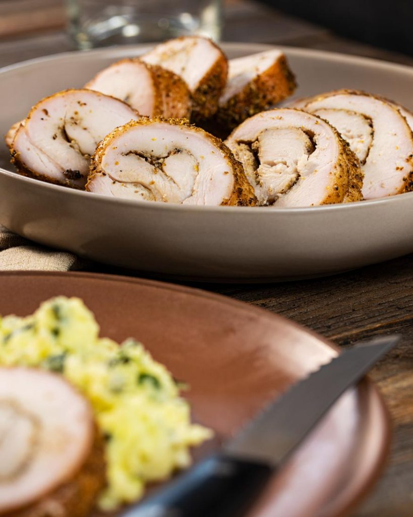 sliced and smoked turkey pastrami