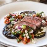 grilled eggplant and seared steak