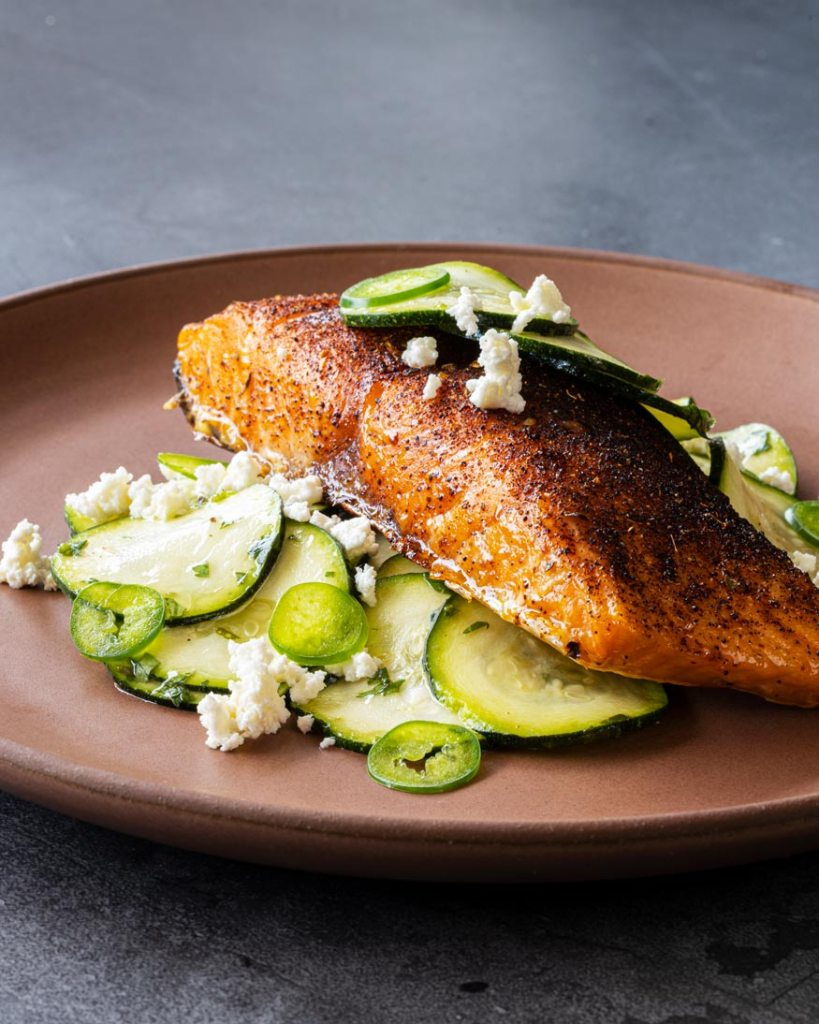 Hot smoked salmon with Smoky Southwest Dry Rub, zucchini salad, and cheese