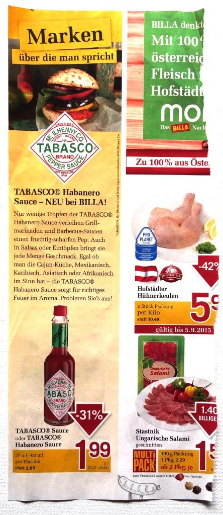 Billa supermarket ad feat. Tabasco