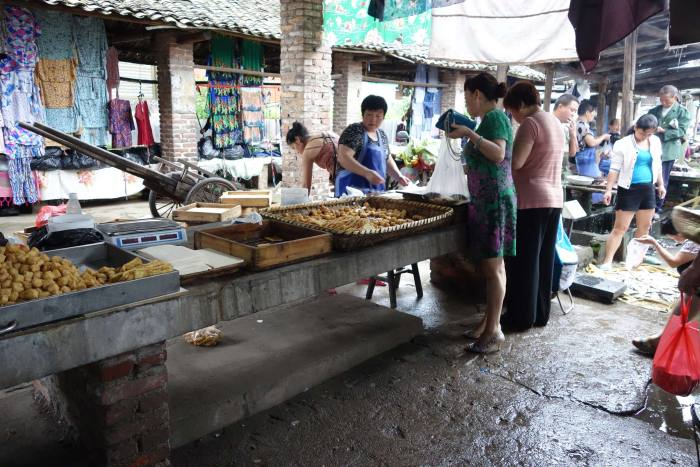 Tofu on offer at rural Chinese market, Hunan