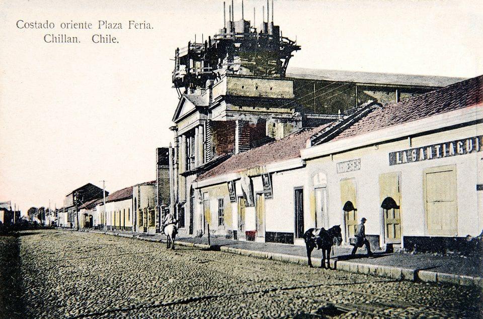 Iglesia La Merced y costado oriente actual Plaza Sgto. Aldea (Feria) de Chillán 1915