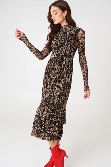 NA-KD Leo mesh frill dress £44.95