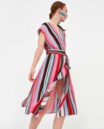 MIDI DRESS WITH MULTICOLOURED STRIPES DETAILS £39.99