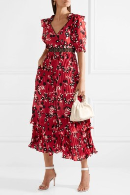 SELF-PORTRAIT Guipure lace-trimmed floral-print crepe de chine dress £300