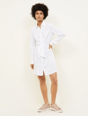 White Tie Front Shirt Dress £17.99