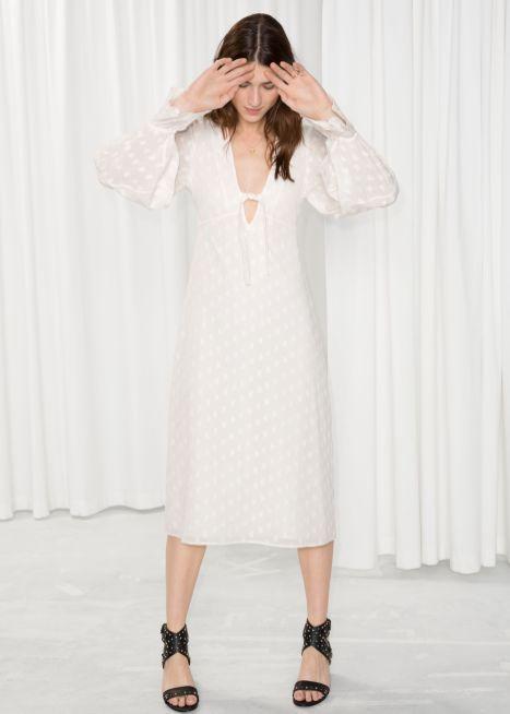 Plunging Jacquard Midi Dress £89