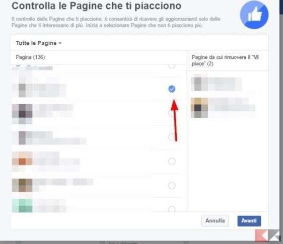 togliere mi piace dalle pagine Facebook