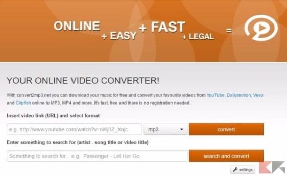 convert2mp3 - convertire video youtube in mp3