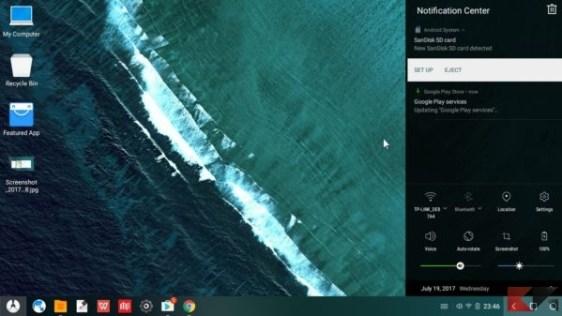 Phoenix os l'interfaccia e le notifiche dell'alternativa a Remix OS