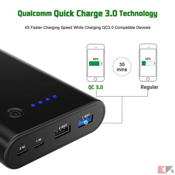Power Bank Quick Charge 3.0 - CHOETECH Dual - 10400 mAh
