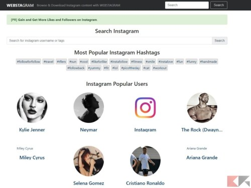 WEBSTAGRAM - accedere a Instagram senza account