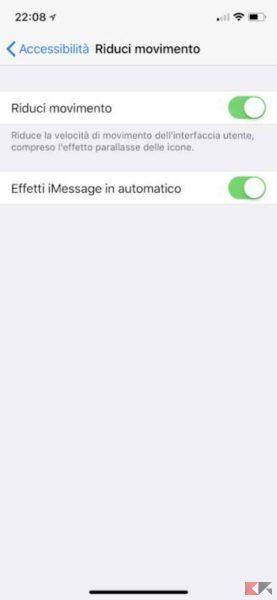 riduci movimento iphone