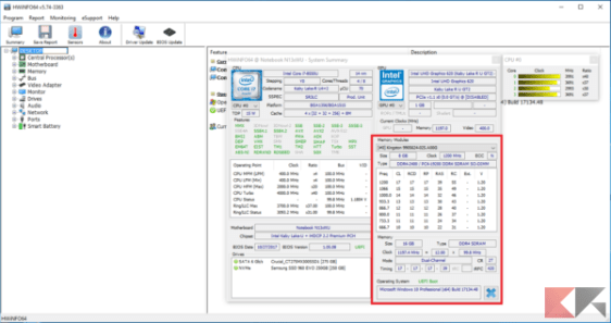 Schermata iniziale riepilogativa di HWiNFO. Evidenziata la sezione sulla memoria.