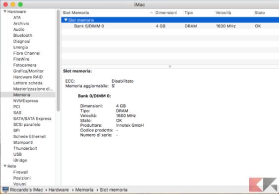 macOS - Resoconto di sistema, sezione relativa alla memoria installata