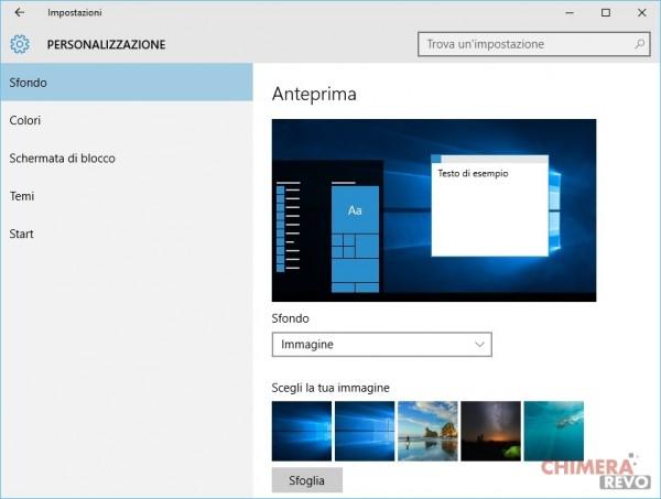 Personalizzazione schermo