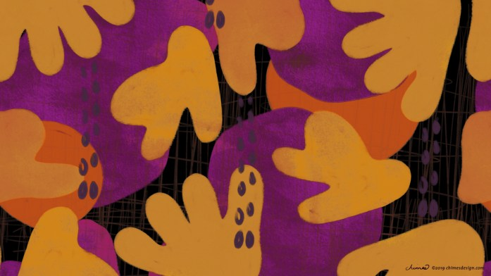 Free desktop wallpaper with abstract flowers and fruit. Purple, orange, yellow, black.