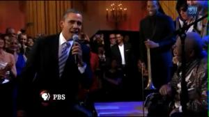 Obama singing with B.B. King