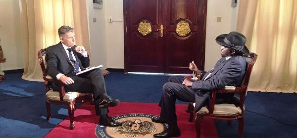 Kiir speaking to Al Jazeera during the interview in Juba last week