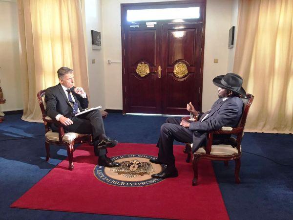 Kiir speaking to Al Jazeera during the interview in Juba last week
