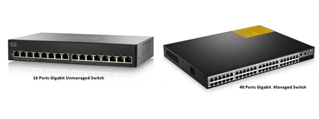 Unmanaged Switch (Left) and Managed Switch (Right)