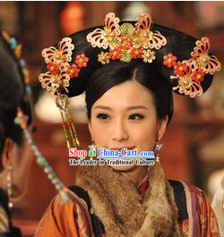 Traditional Chinese Qing Dynasty Princess Manchu Wig And
