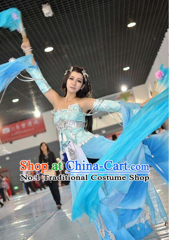 Asia Fashion Chinese Fairy Water Sleeves Fan Dancing